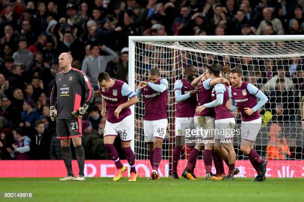 James Chester of Aston Villa celebrates after scoring a goal to make it 21 during the Sky Bet Championship match between Aston Villa and...