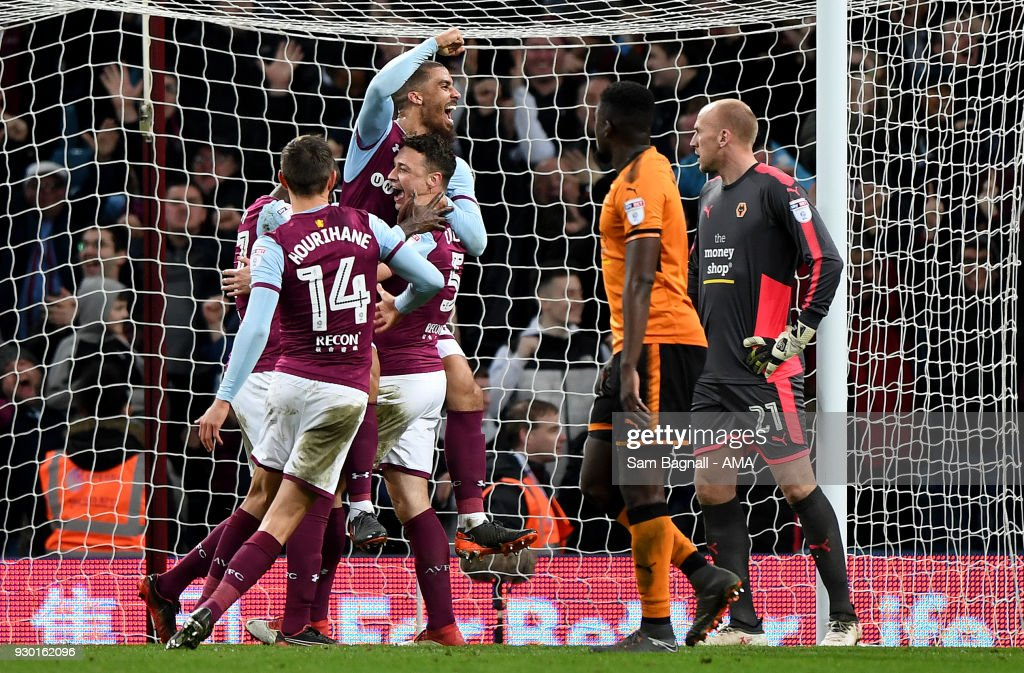 James Chester of Aston Villa celebrates after scoring a goal to make it 2-1 during the Sky Bet Championship match between Aston Villa and Wolverhampton Wanderers at Villa Park on March 10, 2018 in Birmingham, England.