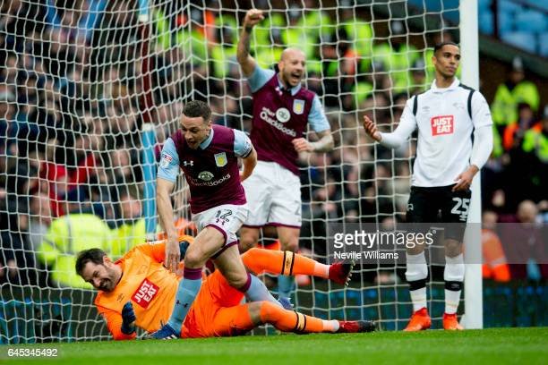James Chester of Aston Villa celebrates his goal for Aston Villa during the Sky Bet Championship match between Aston Villa and Derby County at Villa...
