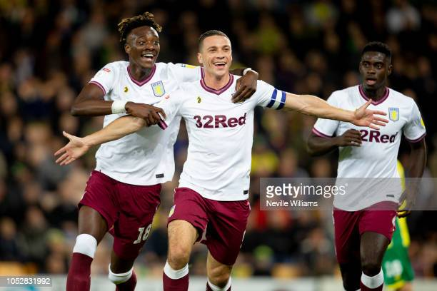 James Chester of Aston Villa celebrates scoring for Aston Villa during the Sky Bet Championship match between Norwich City and Aston Villa at Carrow...