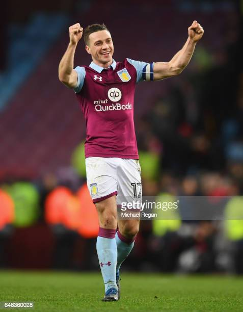 James Chester of Aston Villa celebrates victory after the Sky Bet Championship match between Aston Villa and Bristol City at Villa Park on February...
