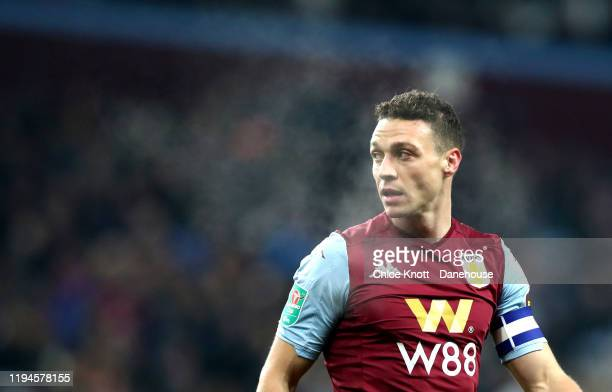 James Chester of Aston Villa during the Carabao Cup Quarter Final match between Aston Villa and Liverpool FC at Villa Park on December 17 2019 in...