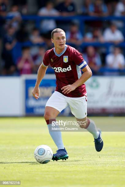 James Chester of Aston Villa during the Preseason friendly between AFC Telford United and Aston Villa at New Bucks Head Stadium on July 14 2018 in...