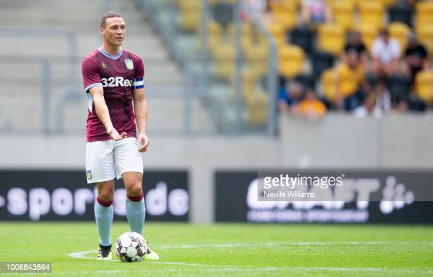James Chester of Aston Villa during the PreSeason Friendly match between Dynamo Dresden and Aston Villa at the DDV Stadion on July 28 2018 in Dresden...