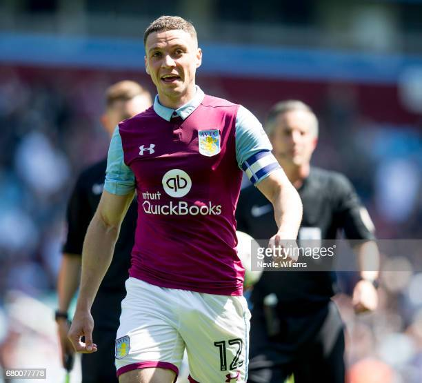 James Chester of Aston Villa during the Sky Bet Championship match between Aston Villa and Brighton Hove Albion at Villa Park on May 07 2017 in...
