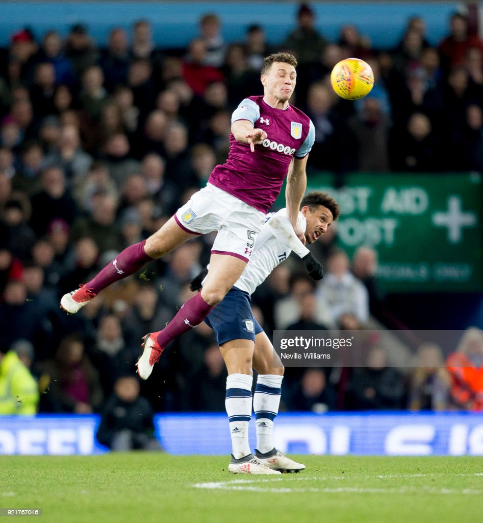 James Chester of Aston Villa during the Sky Bet Championship match between Aston Villa and Preston North End at Villa Park on February 20, 2018 in Birmingham, England.