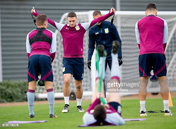 James Chester of Aston Villa in action during a Aston Villa training session at the club's training ground at Bodymoor Heath on October 28 2016 in...