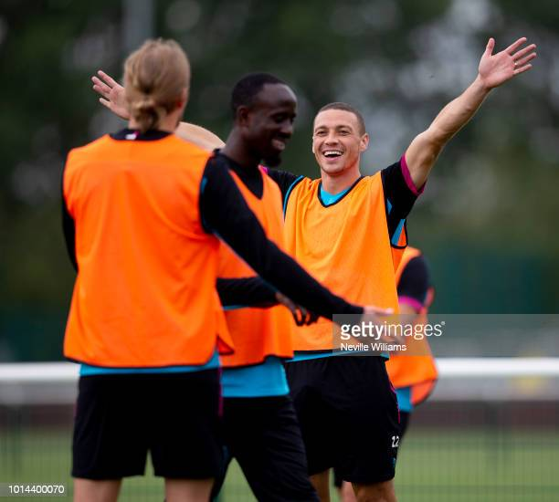 James Chester of Aston Villa in action during a training session at the club's training ground at Bodymoor Heath on August 10 2018 in Birmingham...