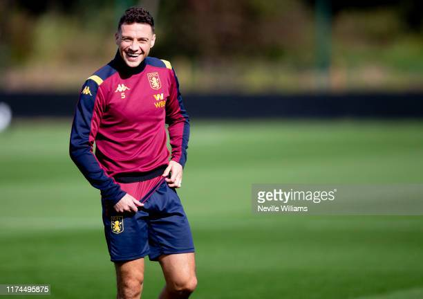 James Chester of Aston Villa in action during a training session at Bodymoor Heath training ground on September 13, 2019 in Birmingham, England.