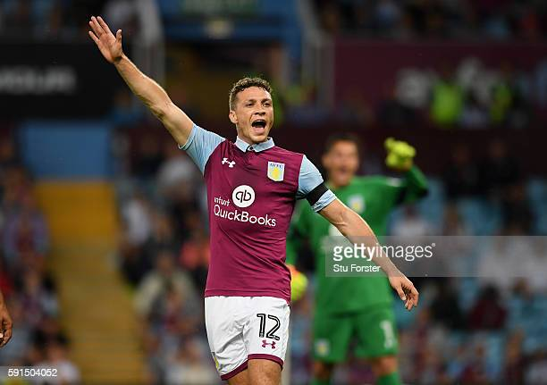 James Chester of Aston Villa in action during the Sky Bet Championship match between Aston Villa and Huddersfield Town at Villa Park on August 16...