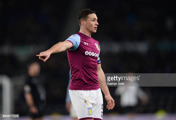 James Chester of Aston Villa looks on during the Sky Bet Championship match between Derby County and Aston Villa at iPro Stadium on December 16 2017...