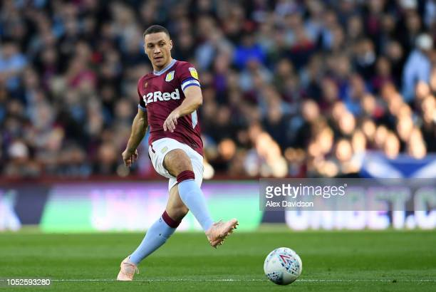 James Chester of Aston Villa passes the ball during the Sky Bet Championship match between Aston Villa and Swansea City at Villa Park on October 20...