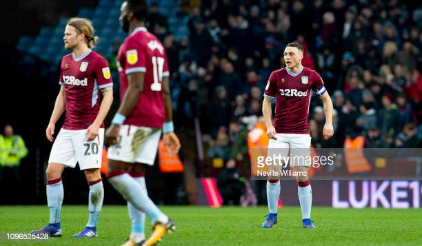 James Chester of Aston Villa reacts after scoring their first goal during the Sky Bet Championship match between Aston Villa and Hull City at Villa...