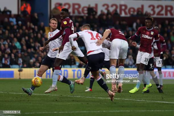 James Chester of Aston Villa scores a goal to make it 20 during the Sky Bet Championship between Aston Villa and Bolton Wanderers at Villa Park on...