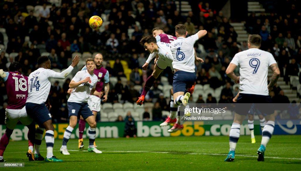 James Chester of Aston Villa scores for Aston Villa during the Sky Bet Championship match between Preston North End and Aston Villa at Deepdale on November 01, 2017 in Preston, England.