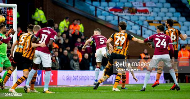 James Chester of Aston Villa scores their first goal during the Sky Bet Championship match between Aston Villa and Hull City at Villa Park on January...