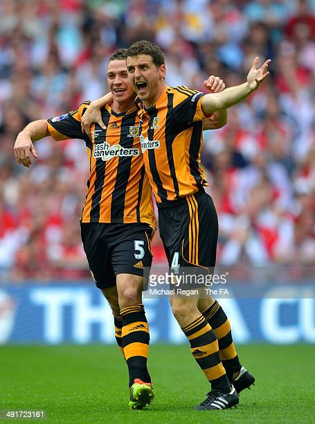 James Chester of Hull City celebrates scring the opening goal with Alex Bruce of Hull City during the FA Cup with Budweiser Final match between...