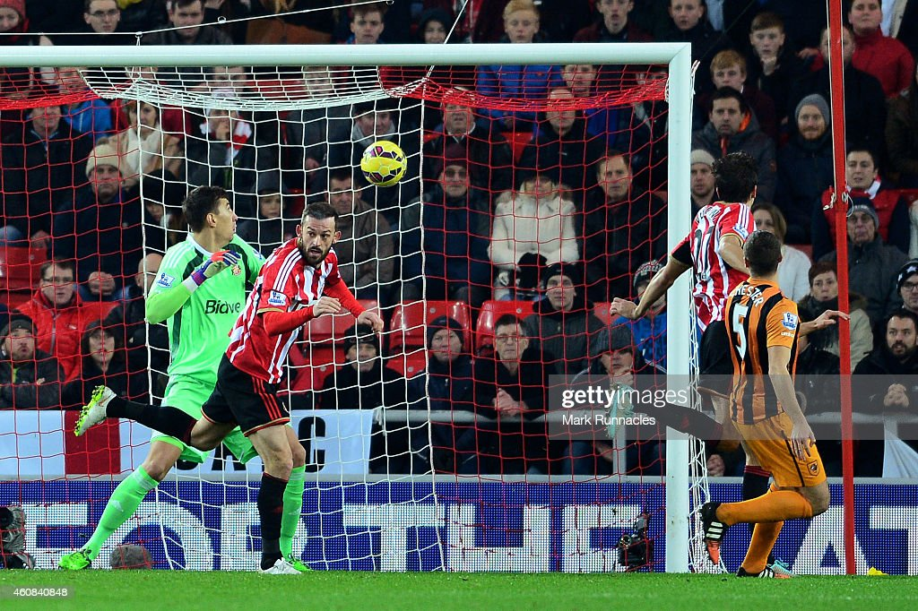 James Chester #5 of Hull City scores a goal to give his team a 2-1 lead during the Barclays Premier League match between Sunderland and Hull City at the Stadium of Light on December 26, 2014 in Sunderland, England.