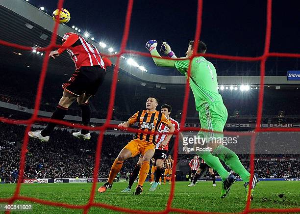 James Chester of Hull City scores a goal to give his team a 21 lead during the Barclays Premier League match between Sunderland and Hull City at the...