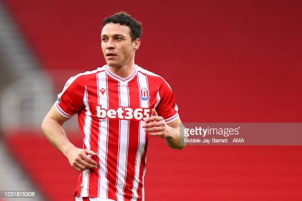 James Chester of Stoke City during the Sky Bet Championship match between Stoke City and Derby County at Bet365 Stadium on March 20, 2021 in Stoke on...