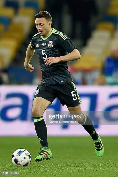 James Chester of Wales controls the ball during the International Friendly match between Ukraine and Wales at NSK Olimpijskyj on March 28 2016 in...