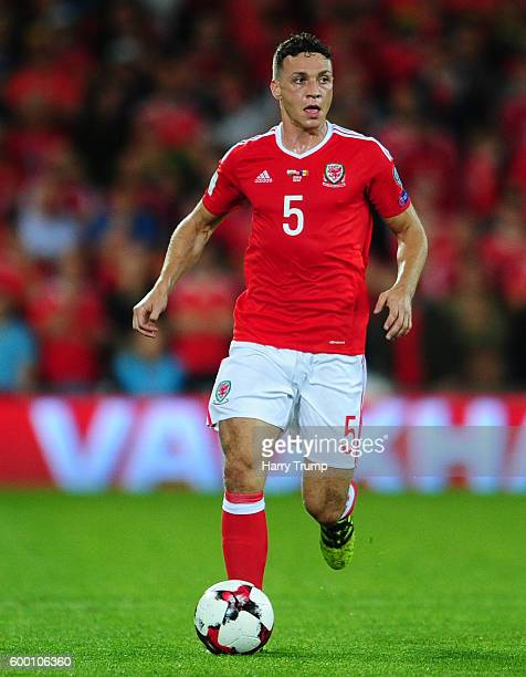 James Chester of Wales during the 2018 FIFA World Cup Qualifier between Wales and Moldova at the Cardiff City Stadium on September 5 2016 in Cardiff...