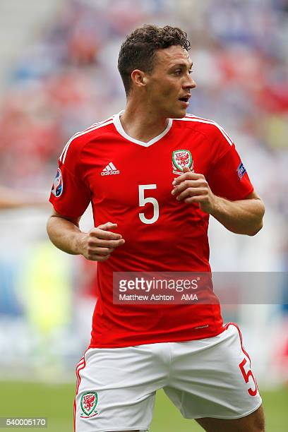 James Chester of Wales during the UEFA EURO 2016 Group B match between Wales and Slovakia at Stade Matmut Atlantique on June 11 2016 in Bordeaux...