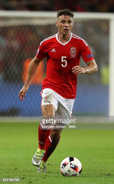 James Chester of Wales during the UEFA Euro 2016 quarter final match between Wales and Belgium at Stade PierreMauroy on July 1 2016 in Lille France