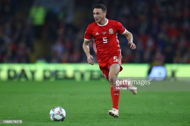 James Chester of Wales during the UEFA Nations League B group four match between Wales and Denmark at Cardiff City Stadium on November 16 2018 in...
