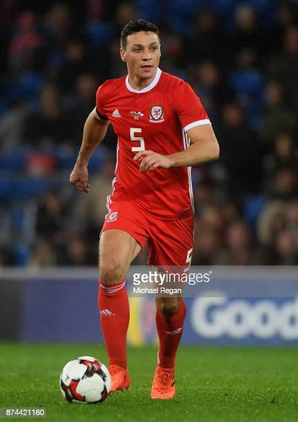 James Chester of Wales in action during the International match between Wales and Panama at Cardiff City Stadium on November 14 2017 in Cardiff Wales