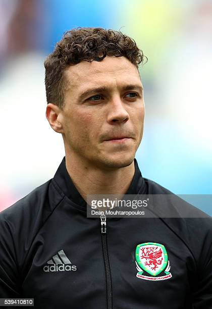 James Chester of Wales is seen prior to the UEFA EURO 2016 Group B match between Wales and Slovakia at Stade Matmut Atlantique on June 11 2016 in...