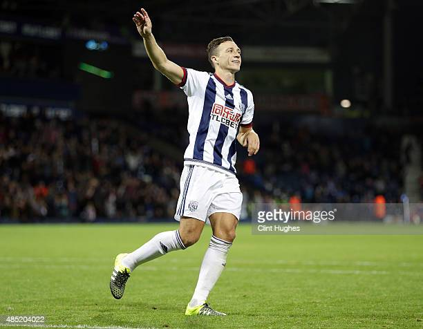 James Chester of West Bromwich Albion celebrates after he scores the winning goal from the penalty spot during the Capital One Cup Second Round match...