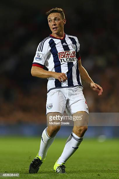James Chester of West Bromwich Albion during the Barclays Premier League match between West Bromwich Albion and Manchester City at The Hawthorns on...