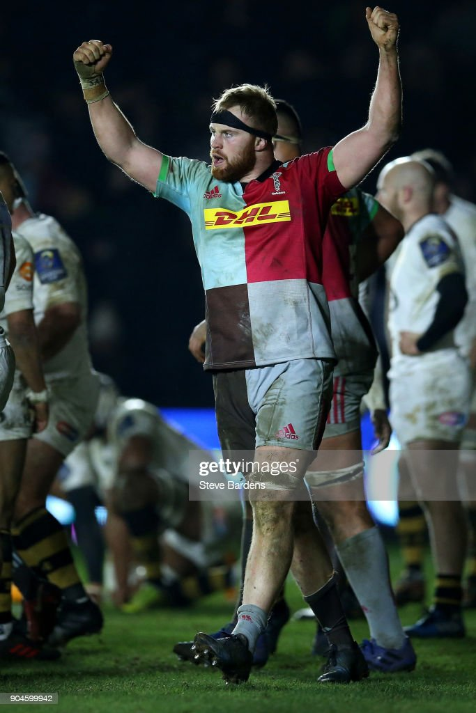 James Chisholm of Harlequins celebrates scoring the winning try during the European Rugby Champions Cup match between Harlequins and Wasps at Twickenham Stoop on January 13, 2018 in London, England.