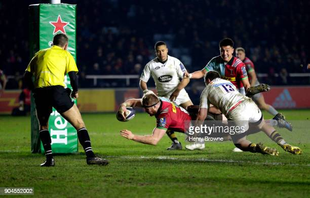 James Chisholm of Harlequins scores the winning try during the European Rugby Champions Cup match between Harlequins and Wasps at Twickenham Stoop on...
