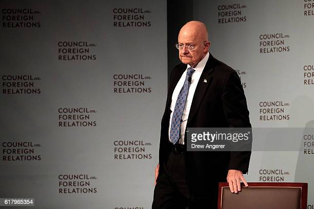 James Clapper US Director of National Intelligence arrives for a conversation at the Council of Foreign Relations October 25 2016 in New York City...