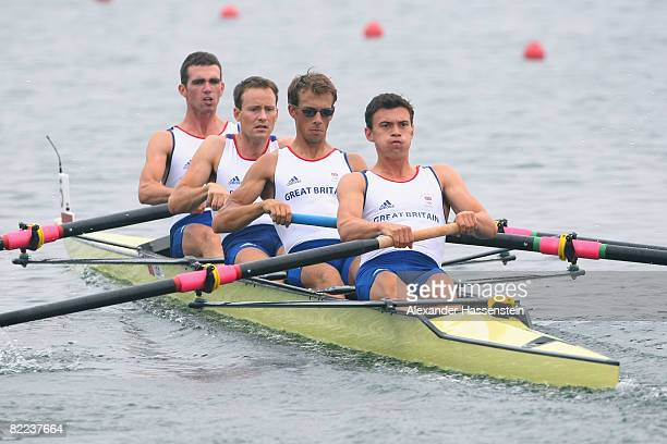 James Clarke, Paul Mattick, James Lindsay-Fynn and Richard Chambers of Great Britain compete in the Lightweight Men's Four Heat 1 at the Shunyi...