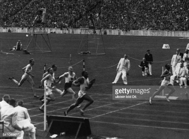 James Cleveland Owens American athlete 1936 Olympic Summer Games in Berlin final 100 meters sprint results1 Jesse Owens 2 Ralph Metcalfe 3 Martinus...