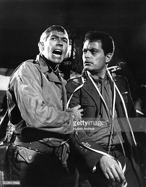 James Coburn and Dick Shawn yell in a scene from the movie What Did You Do in the War Daddy circa 1966