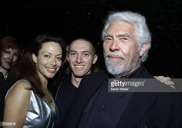James Coburn his wife Paula and his agent CAA's Jeremy Plager at CAA's post MTV Movie Awards party at Cafe Le Deux in Los Angeles Ca 6/2/01 Photo by...