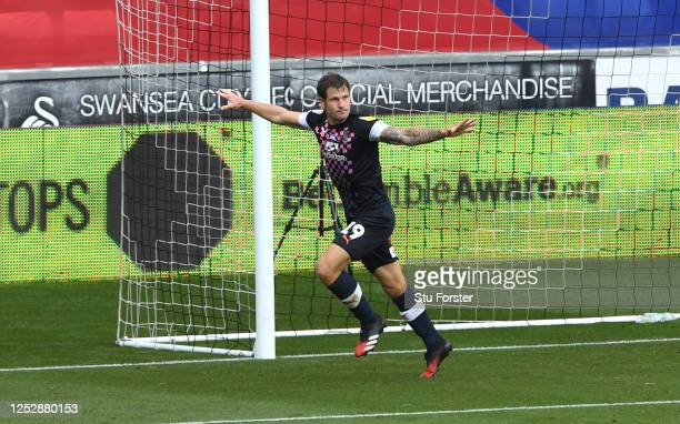 James Collins of Luton celebrates after scoring the opening goal during the Sky Bet Championship match between Swansea City and Luton Town at Liberty...