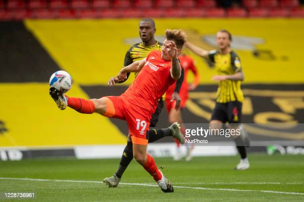 James Collins of Luton Town during the Sky Bet Championship match between Watford and Luton Town at Vicarage Road Watford England on September 26 2020