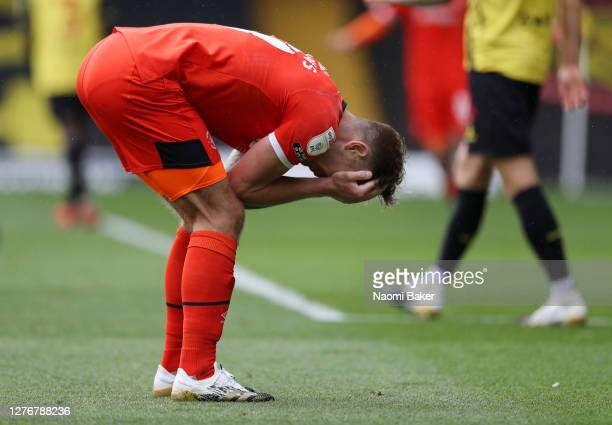 James Collins of Luton Town reacts during the Sky Bet Championship match between Watford and Luton Town at Vicarage Road on September 26 2020 in...