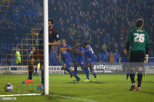 James Collins of Shrewsbury Town celebrates scoreing the opening goal during the Capital One Cup Third Round match between Shrewsbury Town and...