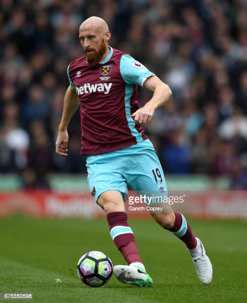 James Collins of West Ham during the Premier League match between Stoke City and West Ham United at Bet365 Stadium on April 29 2017 in Stoke on Trent...