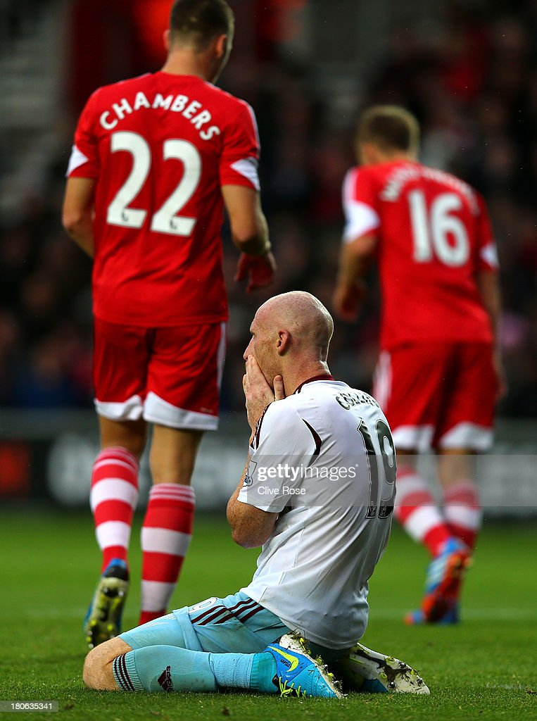James Collins of West Ham reacts after his missed shot on goal during the Barclays Premier League match between Southampton and West Ham United at St Mary's Stadium on September 15, 2013 in Southampton, England.