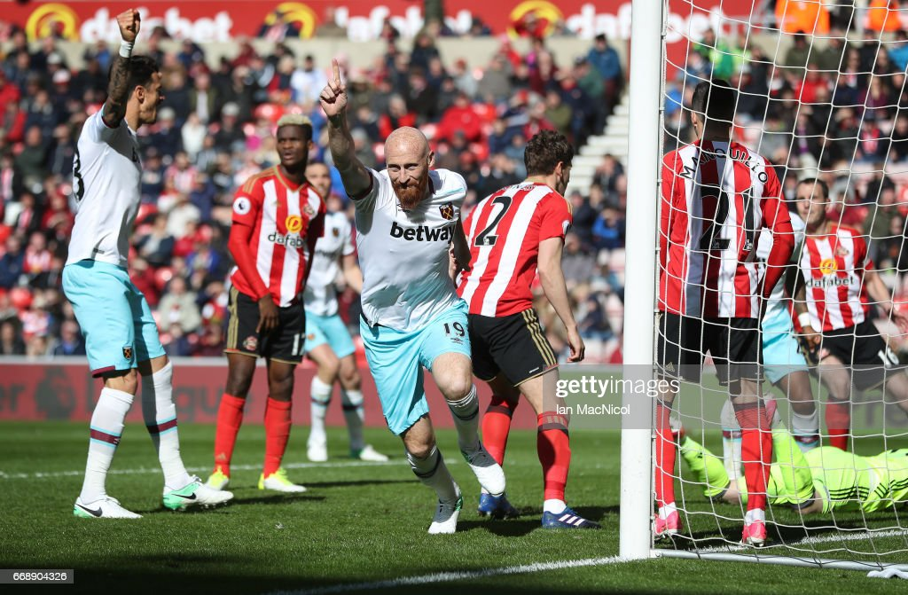 James Collins of West Ham United celebrates after he scores his sides second goal during the Premier League match between Sunderland and West Ham United at Stadium of Light on April 15, 2017 in Sunderland, England.