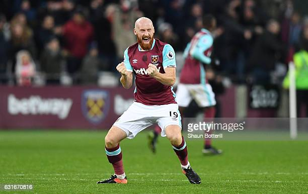James Collins of West Ham United celebrates his side going 10 up through a Sofiane Feghouli of West Ham United goal during the Premier League match...