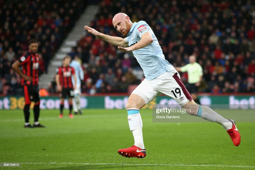 James Collins of West Ham United celebrates scoring his sides first goal during the Premier League match between AFC Bournemouth and West Ham United at Vitality Stadium on December 26, 2017 in Bournemouth, England.