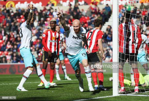 James Collins of West Ham United celebrates scoring his sides second goal during the Premier League match between Sunderland and West Ham United at...